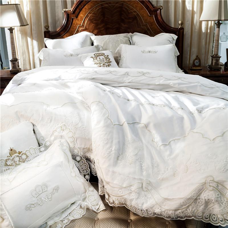 Großhandel Weiße Stickerei Baumwolle Bettwäsche Sets Luxus Bettbezug