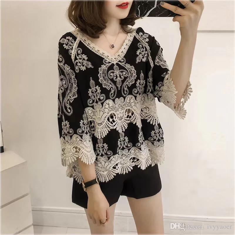 6a0ff30da7 Summer Women Embroidery Lace Hollow Out Middle Sleeve Shirt Tops V ...