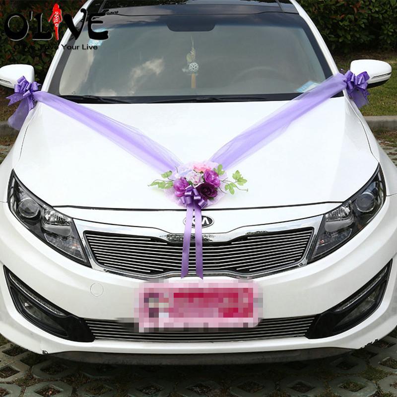 Großhandel Künstliche Blumen Hochzeit Auto Dekoration Sets Rosa Lila