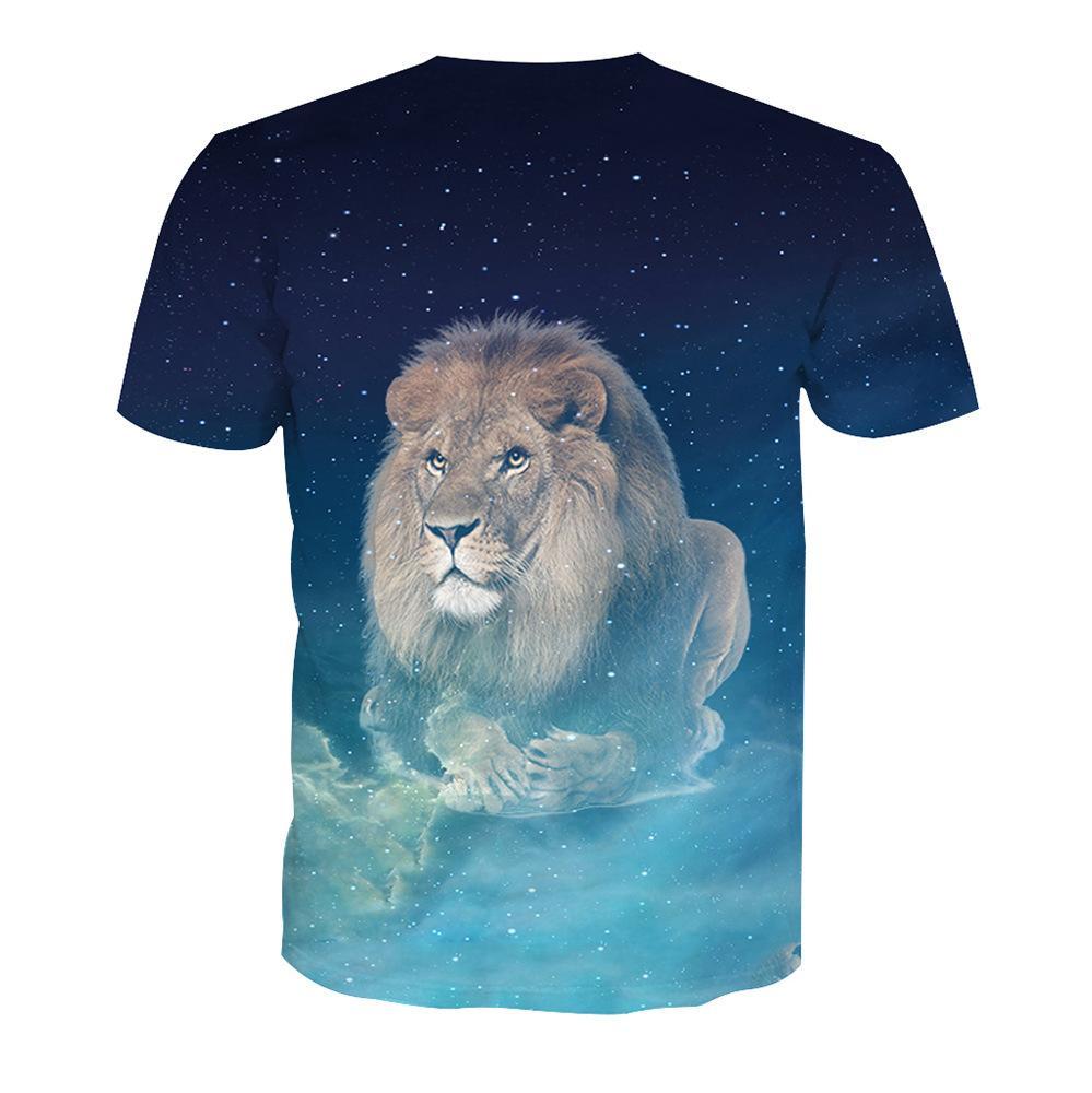 Été 2018 nouvelle mode imprimé animal mâle manches courtes tendance impression numérique à manches courtes T shirt mâle T