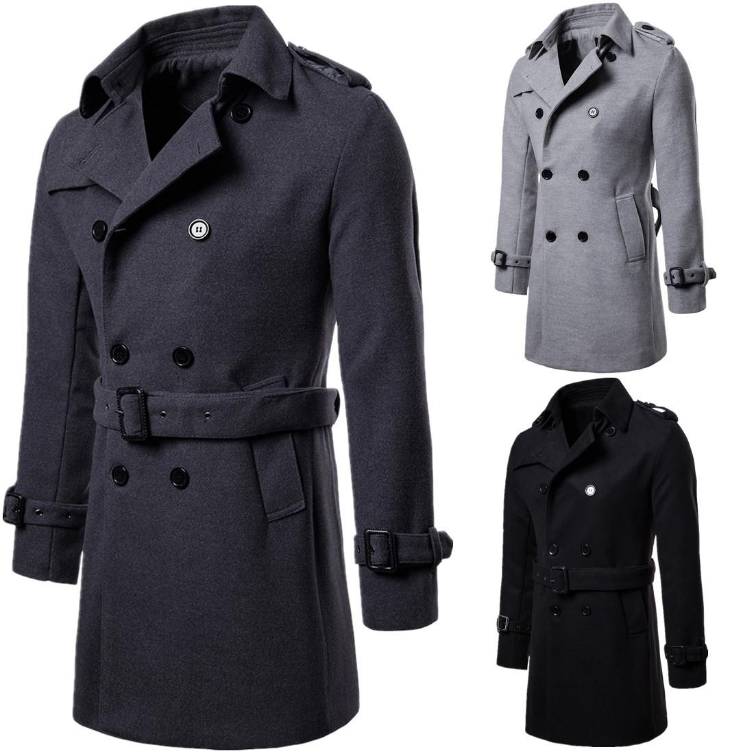 3af98c203c5d8 Men Casual Trench Coat Mens Long Winter Coats Hot New Fashion Slim Fit Mens  Man Wool UK Style Outwear Overcoat Outerwear J181178 Men Casual Trench Coat  Mens ...
