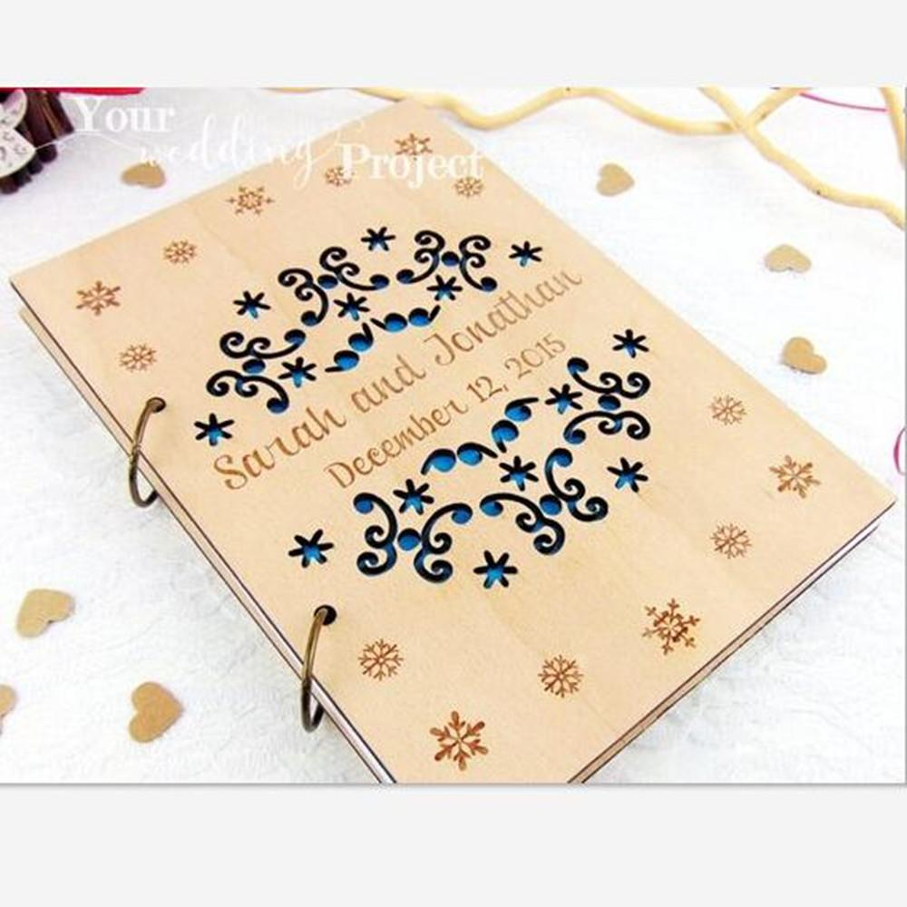 Personalized Winter Theme Wedding Guest Book, Snowflake with Name ...