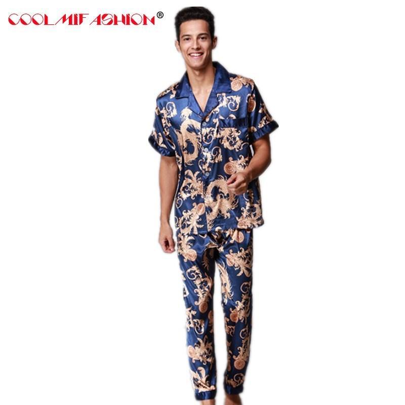 d764d0e97af8c2 Großhandel Herren Pyjama Set Marke Pyjamas Sommer Herren Faux Silk Pyjamas  Männer Lange Hose Männlich Home Kleidung Luxus Sexy Nachtwäsche Kleidung  Von ...