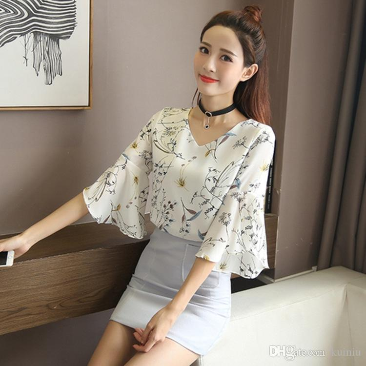 eb645ea57e59 Floral Fashion Chiffon Casual Blouse Outwear Loose Sexy V -Neck Flared  Sleeves T -Shirt Pullover Leaf Print Natural Color Hollow Out Sh