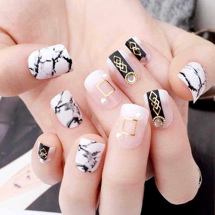 Marble Style Fake Nail Tips Short Oval Full Cover Nail Art Tips ...