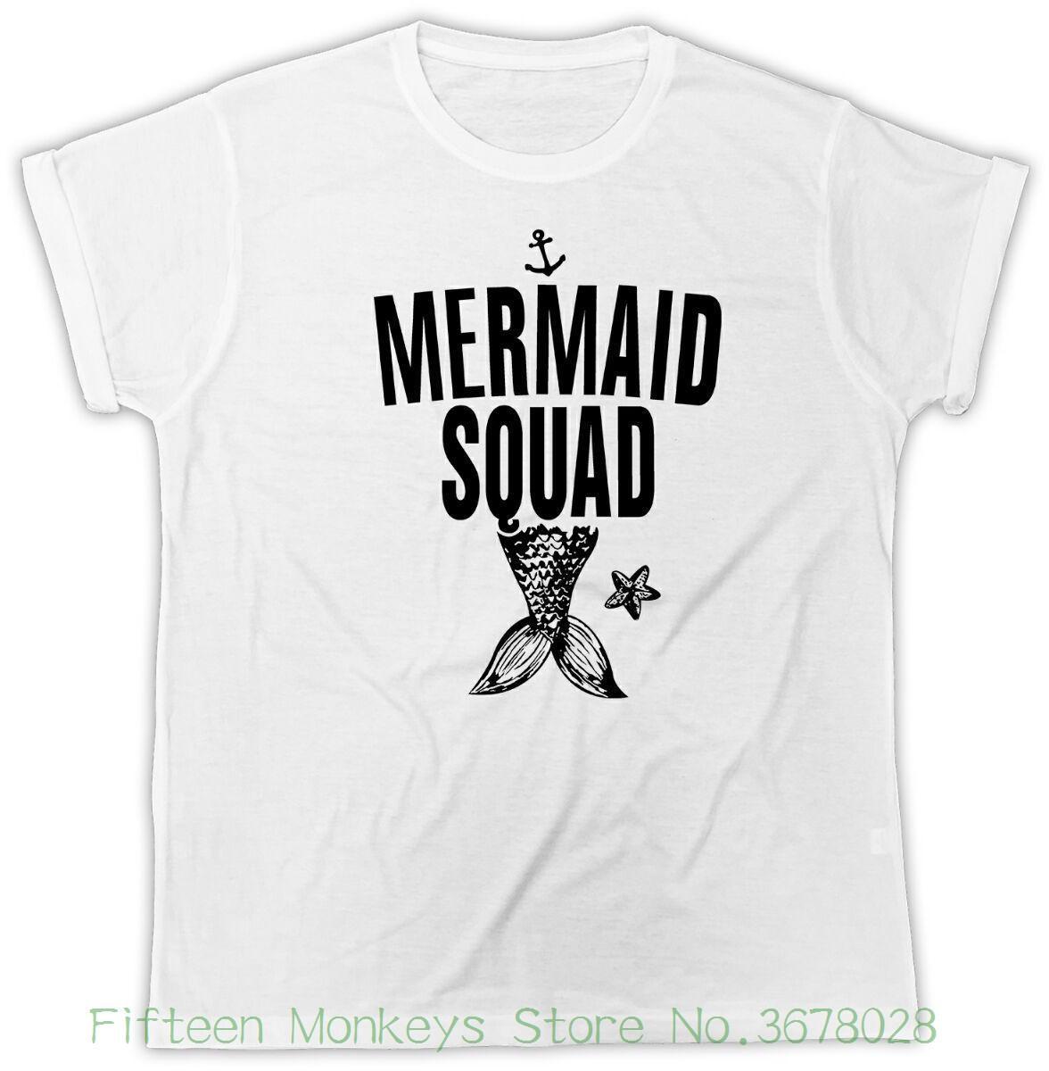 3053495dcd20 Women's Tee Mermaid Squad T-shirt Ariel Tattoo Vintage Tee Ursula Nautical  Anchor Tshirt Funny Print Women T Shirt