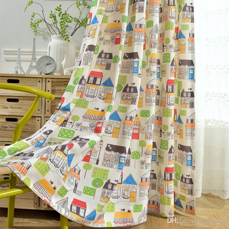 Modern Cute Children's Room Small House Blackout Curtain Polyester Cotton Printed Curtain for Kids Room Living Room Window Drape