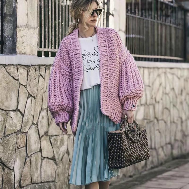 4a652248e644 Übergroße rosa Strickjacke handgemachte Strickjacke Frauen stricken lange  Laterne Ärmel Pullover grob gestrickte Herbst Winter Casual Pullover
