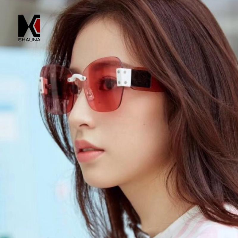 42f7126ec7 SHAUNA Fashion Candy Colors Women Rimless Square Sunglasses Vintage ...