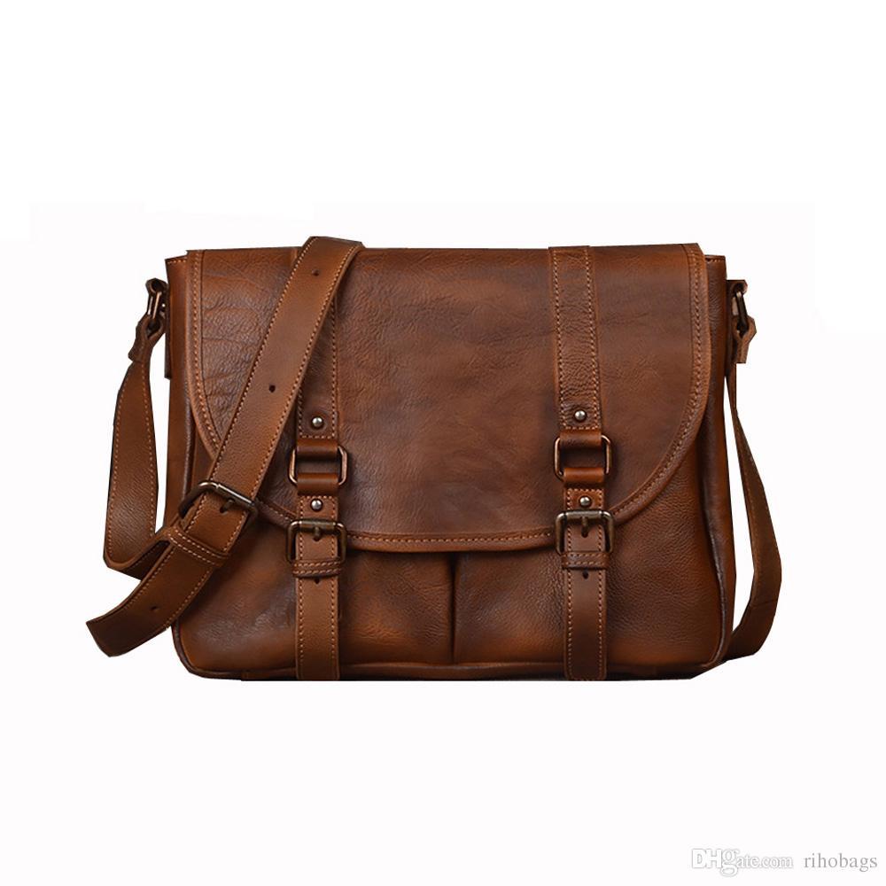 Satın Al El Yapımı Erkek Hakiki Deri Omuz çantası Messenger çanta