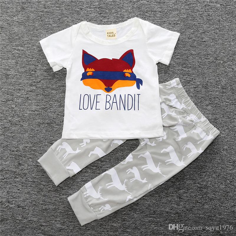 T-shirt con stampa di volpe di cotone bambini nuovi + due pezzi di pantaloni con stampa cervo