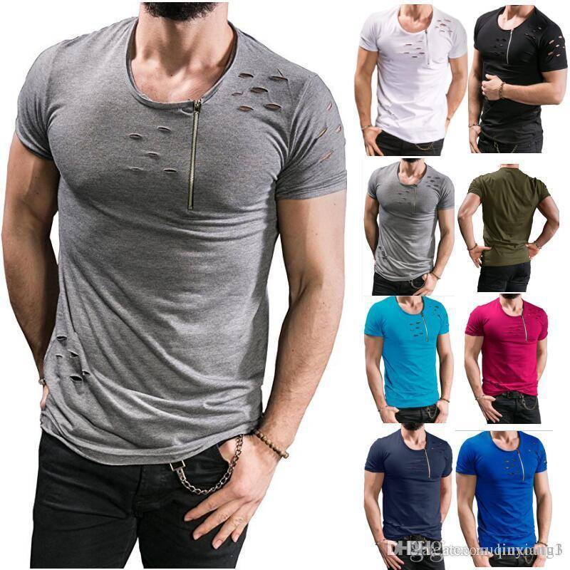 1298a7977 Uwback 2018 New Summer T Shirt Men Plus Size 3XL Ripped Hole T Shirts Men  Zipper Breathable Casual Tees Men S T Shirt CAA515 T Shirt T Tee Shirts  Online ...
