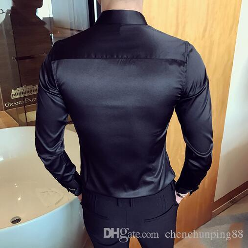 2017 autumn installs new tide men long sleeve shirt han edition to repair a pure color of wedding shirt tide money