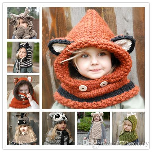 011b907d99b Kids Knitted Unicorn Fox Caps with Shawl Girls Cartoon Animal Infant ...