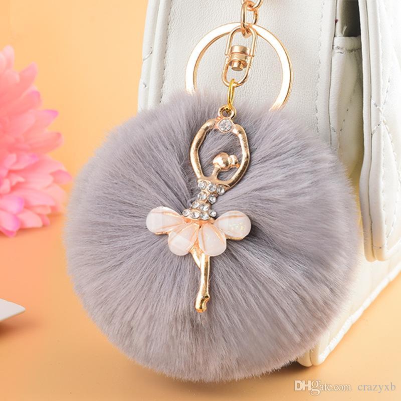 ZOEBER Gold Key Chain Pom Pom Key Rings Fake Rabbit Fur Ball KeyChain  Pompom Angel Girl Fourrure Pompon Women Bag Charms Jewelry Monkey Fist  Keychain ... 89e444e033