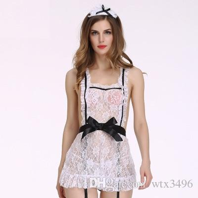 4bfa992a9c1f2 Lace See through Sexy Cosplay Lingerie Cross Back Deep Sleeveless ...