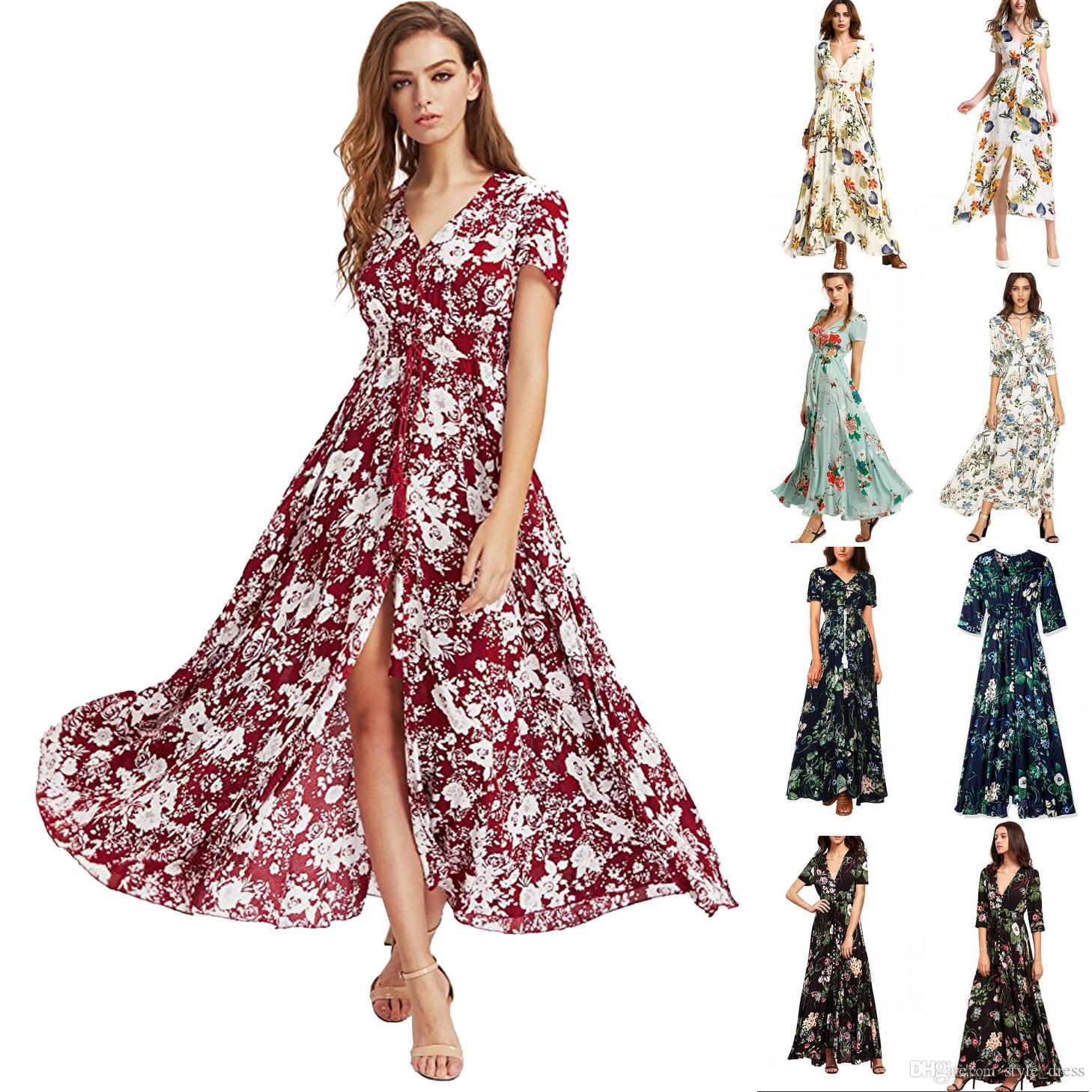 8218a2d8ba18 Boho Maxi Dress Women Summer Beach V Neck Short Sleeve Split Floral Printed  Long Party Dress Black Dress For Sale Women Black Dresses From Style dress