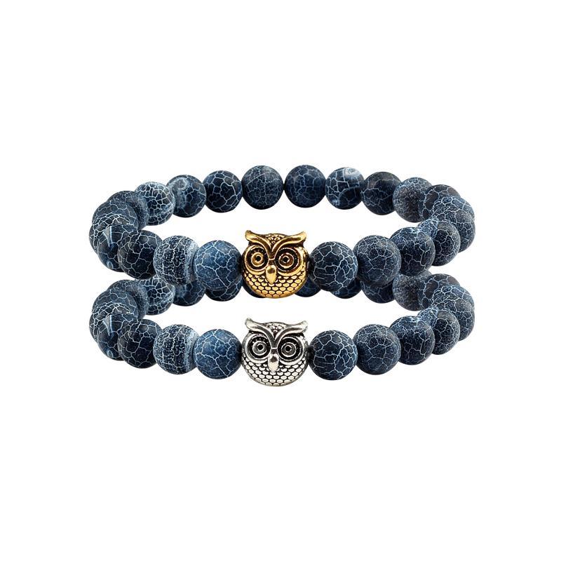 2c90fe760890 Moda intemperie negro piedra natural buho distancia pulseras brazaletes  hombres pulsera de perlas de moda para mujeres regalo de la joyería encanto  ...