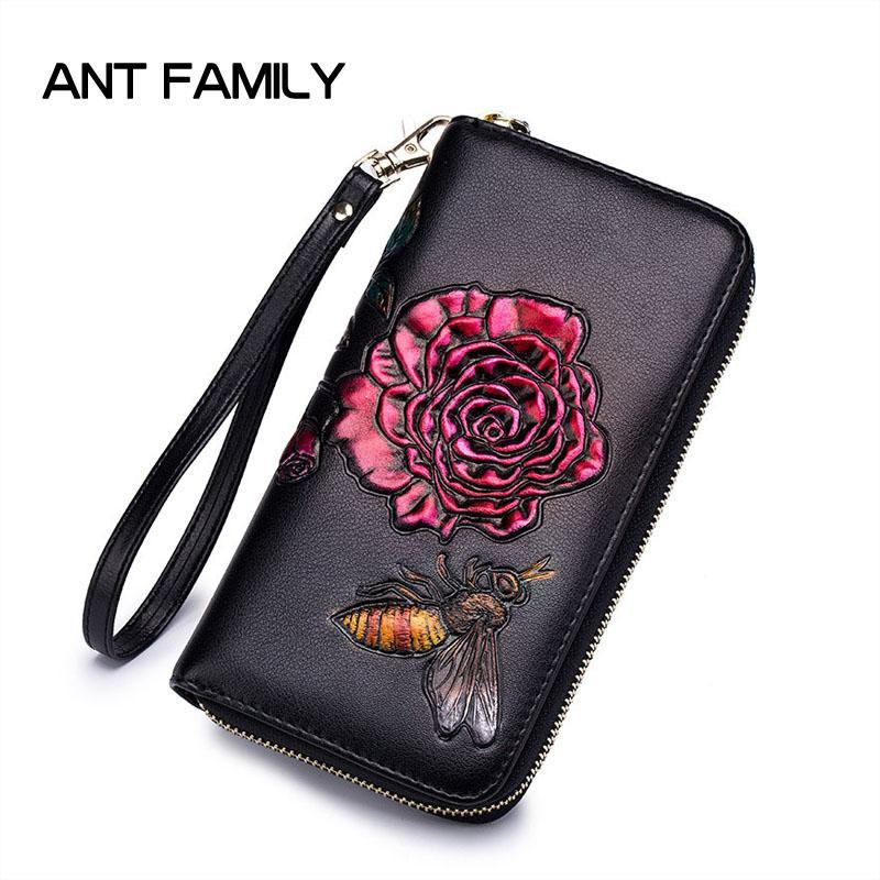 de2097c8f289 Luxury Genuine Leather Women Wallet Fashion Rose Wallets 2019 Porte ...