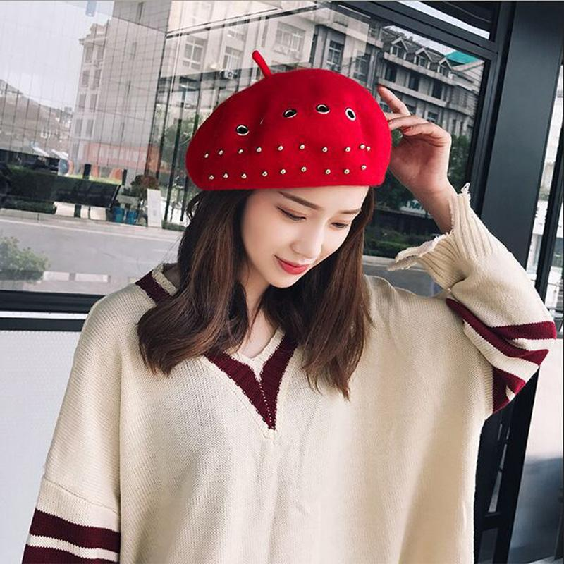 New Solid Women Korean Style British Ring Cape Beret Hat Iron Hoop French  Artist Beanie Hat Autumn Spring Winter Punk Beret UK 2019 From Yongq 6251172e82d