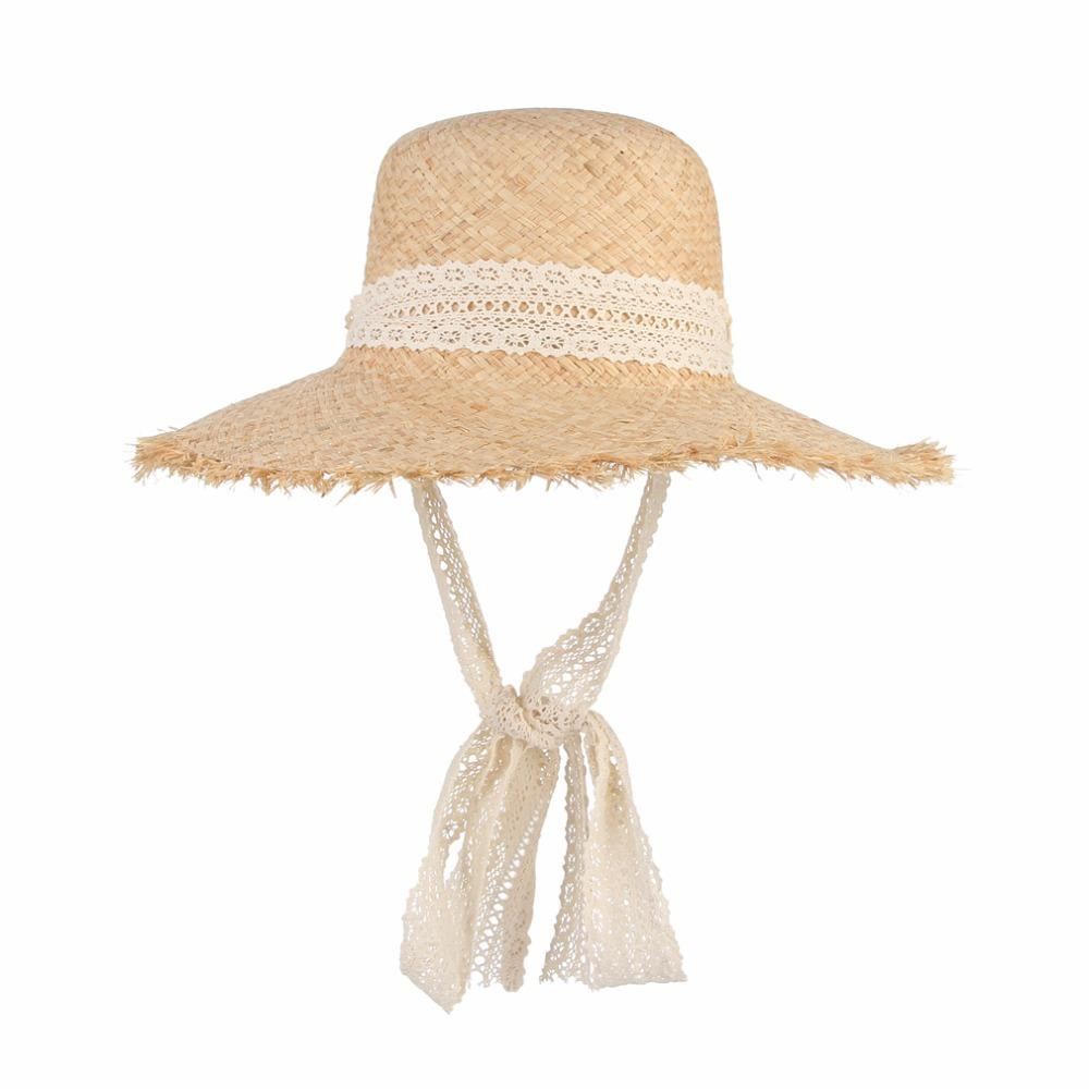 cceb39193dc Simple Fashion Women Summer Hats Large Raffia Straw Hat Lace Ribbon Lace Up  Beach Caps Fashion Ladies Panama Sun Hat Rain Hat Hats In The Belfry From  ...