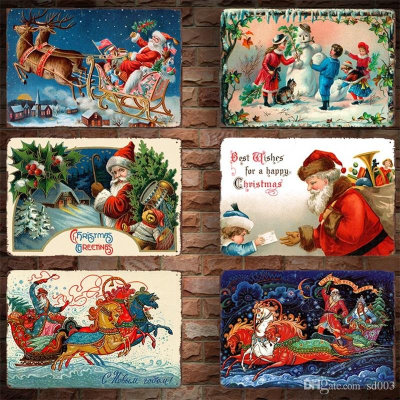 Santa Claus Tins Poster Home Decoration Vintage Metal Iron Painting Christmas Tin Sign Coffee Shop Wall Decor 30*20cm 4 2dm C