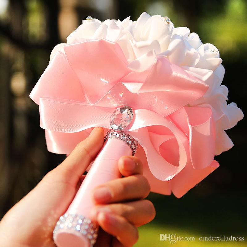 Beautiful White Pink Perals Wedding Bouquets With Ribbon Romantic ...