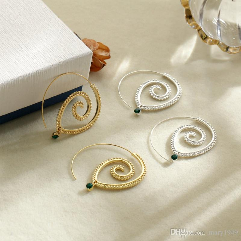 Spiral Type Dangle Earrings for Women Hyperbole Gear Shape Chandelier Earrings Gold Silver Fashion Jewelry Earrings
