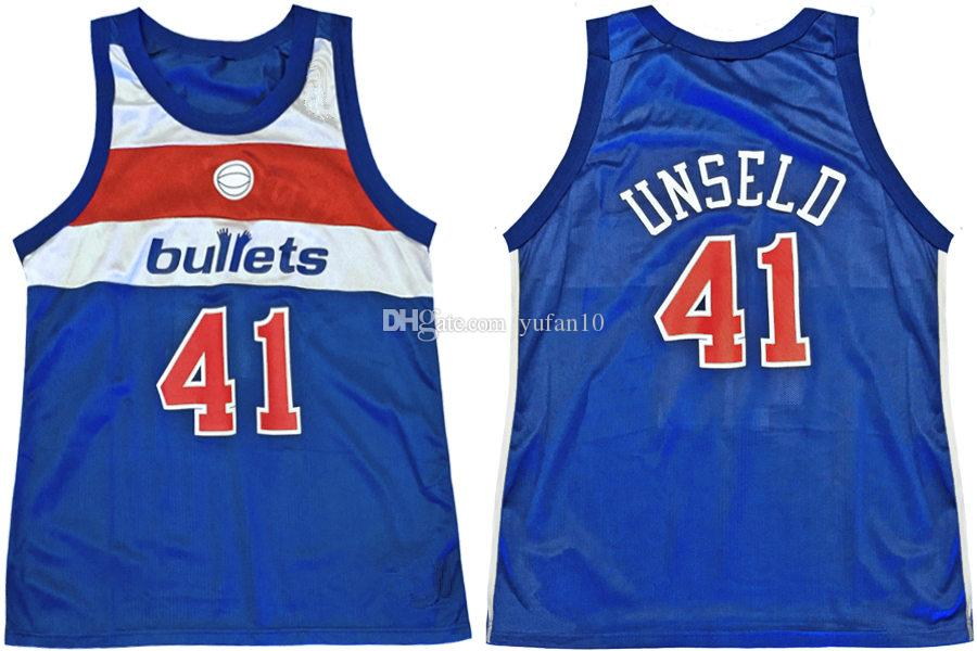 52ad48d07c4 ... discount code for washington bullets 41 wes unseld blue retro classic  basketball jersey mens embroidery stitched