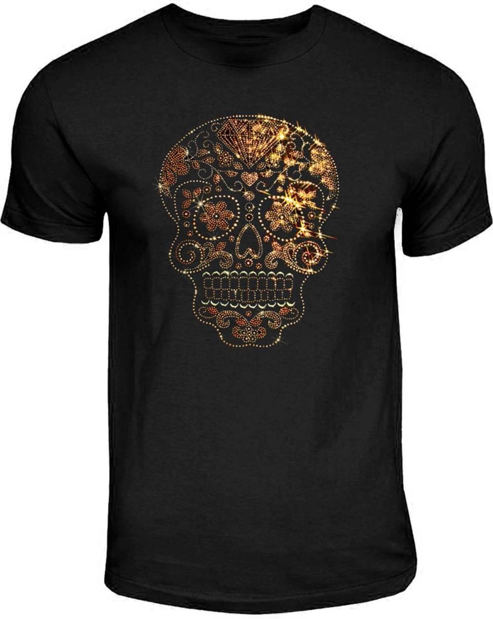 933f27c4b386b6 Cotton Shirts Rhinestone Studs Sugar Skull T Shirt Mens Gold On Gold Candy  Skull Tee S To 4xl Printed T Shirts Men S Streetwear T Shirts Designer  Funny Tee ...