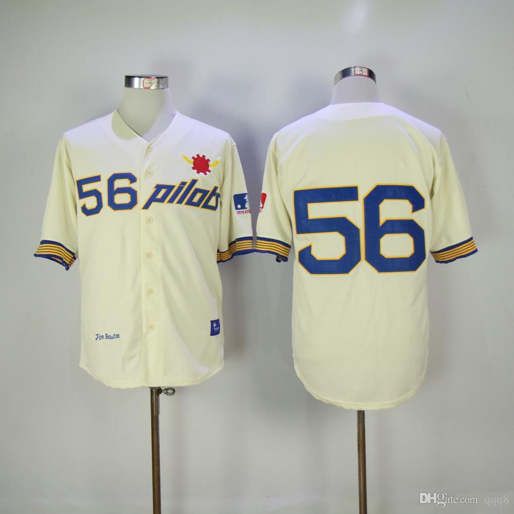 2019 1969 seattle pilots jim bouton baseball jersey retro cream 56