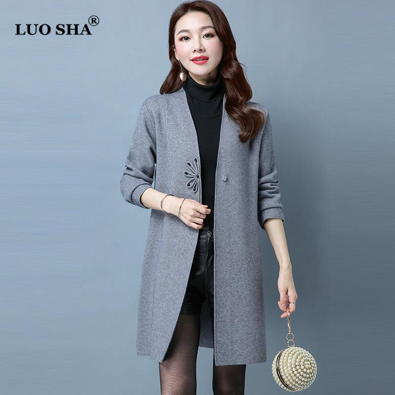 d6d93d6a9bd LUO SHA Chinese Women's Clothing Women Cardigan Knitted Sweater Coat V-Neck  Long Cardigan Female Jacket Disk Buckle