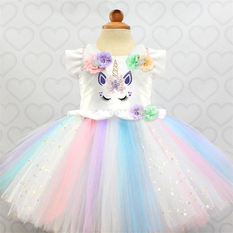 7ae8ac1253364 New Arrival Fancy Unicorn Dress for Kids Baby Princess Girls Dresses for  Party Costumes Girls Flower Ball Gown Vestido Unicornio