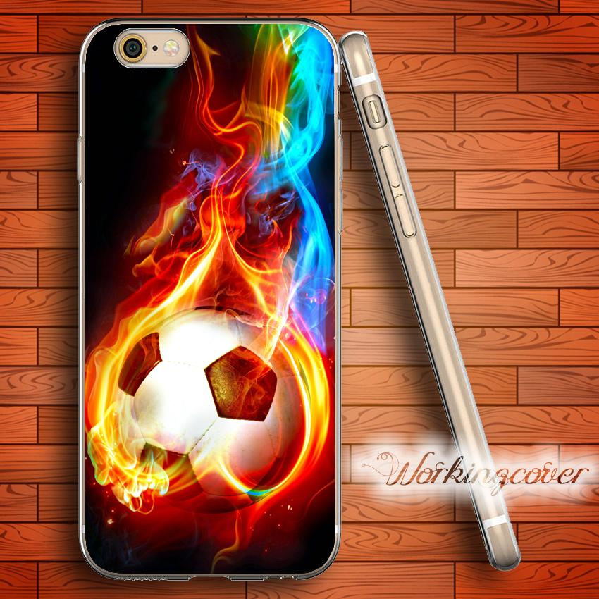 buy popular 80189 36227 Capa Fire Soccer Clear TPU Silicone Case for iPhone X 8 6 6S 7 Plus 5S SE 5  5C 4S 4 Case for iPod Touch 6 5 Cover.