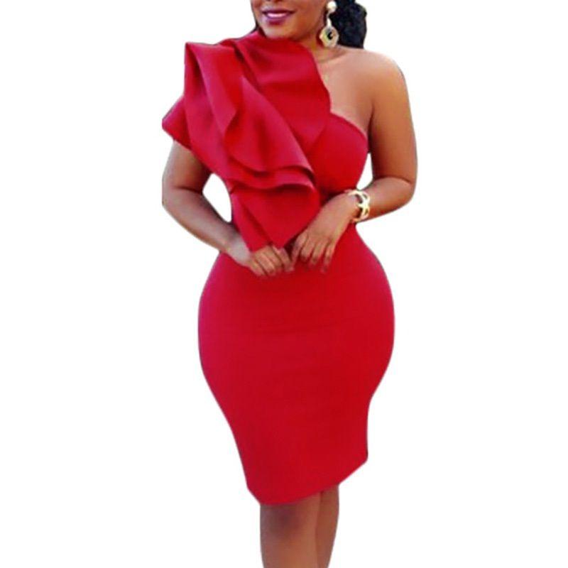 ae67002966 3 Colors Summer Dress 2018 One Shoulder Ruffle Sleeveless Midi Dress Sexy  Women Elegant Celebrity Party Vestido De Festa