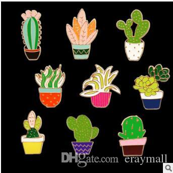 2019 Cactus Flowers Cartoon Brooches Pins Corsages Forest Harajuku Fresh Plants Bag Clothes Accessories Christmas Party Birthday Gifts 705 From Eraymall