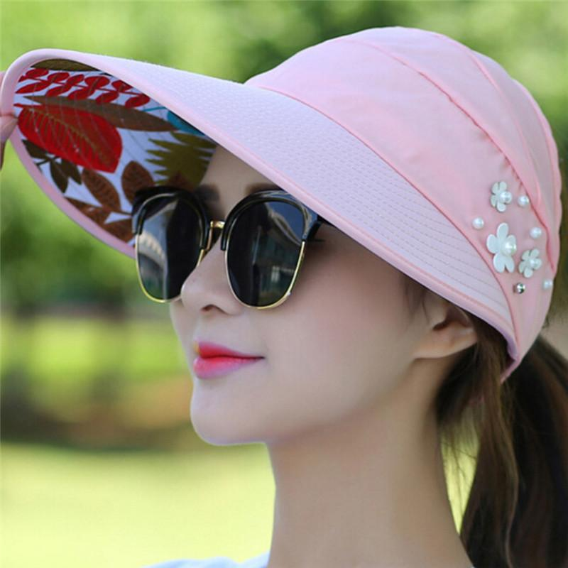 615d128c6f9 Women Sun Hats For Summer Pearl Packable Sun Visor Hat With Big Heads Wide  Brim Beach Hat UV Protection Female Caps Stetson Hats Cowboy Hats From  Hoganr