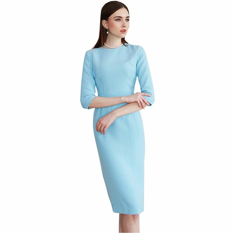 the best attitude d9126 56249 2018 Vestito elegante attillato da donna Vestito da mezza manica elegante  da lavoro OL blu chiaro Vestito elegante dalla benda per ufficio semplice e  ...