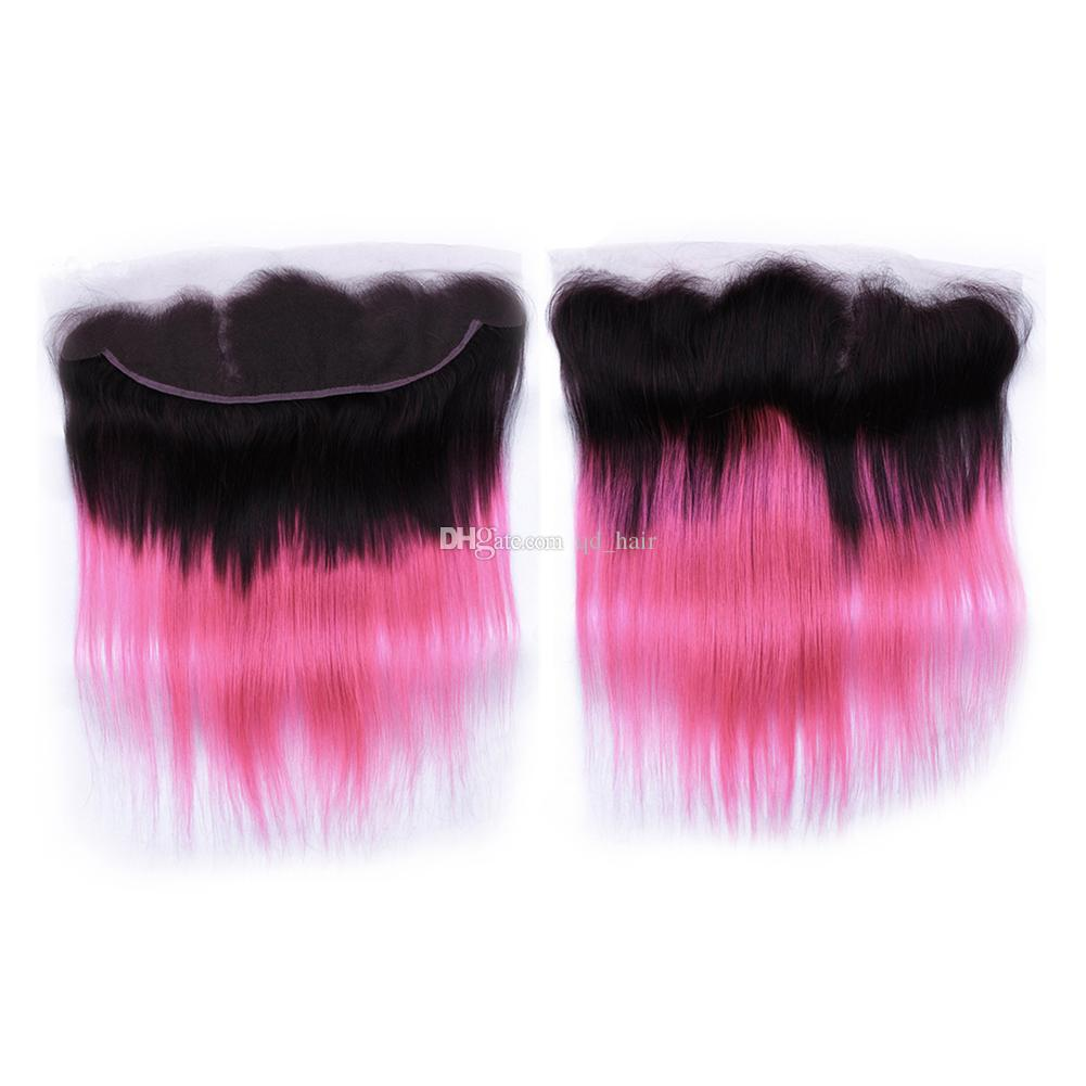 الظلام الظلام أومبير حزم الشعر الوردي مع الدانتيل أمامي البرازيلي حريري مستقيم 1b الوردي الشعر مع الأذن إلى الأذن كامل الرباط أمامي 13 * 4