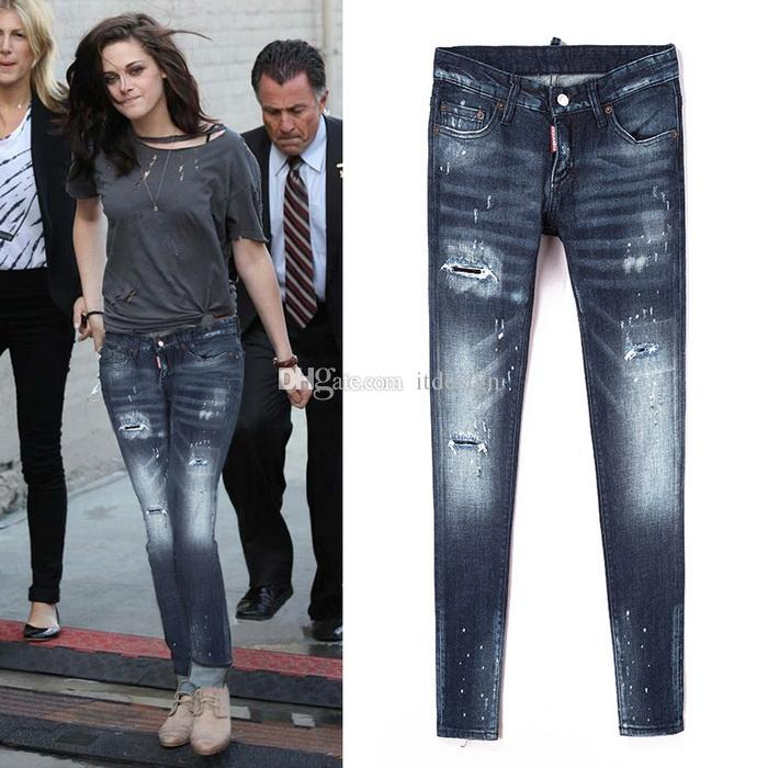 95a4670b349 Sexy Jeans Cool Girl Skinny Fit Ripped Bleach Wash Damage Hole Nice ...