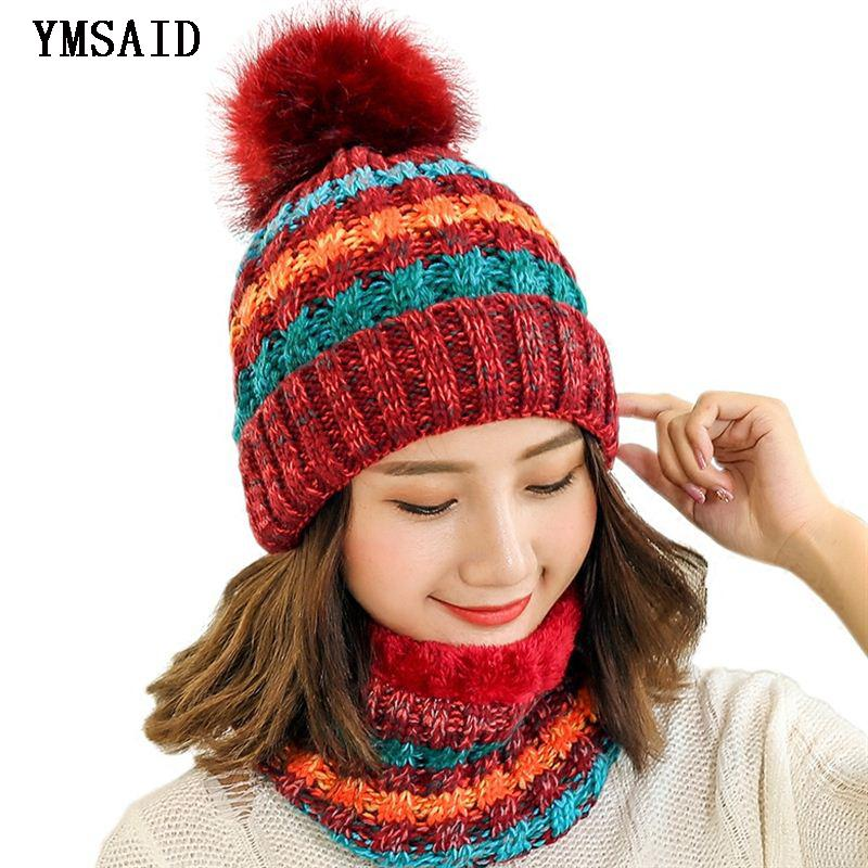 b735baf9528 Woman Knit Beanie Hat And Scarf Set Hairball Pom Pom Hats Female Thick Hat  Winter Warm Cute Girls Fashion Cap Collar Suit Y18110503 Canada 2019 From  ...