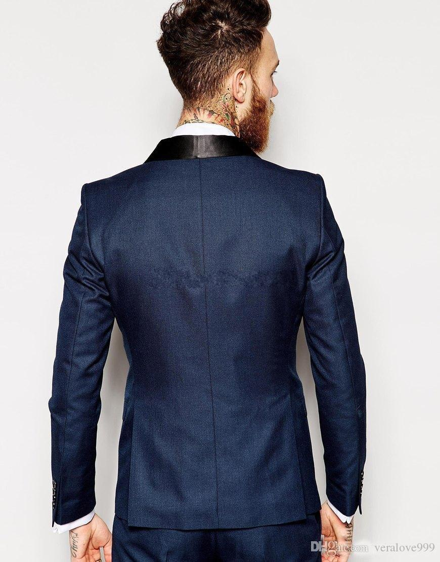 Custom Made Slim Fit Groom Tuxedos Shawl Collar Men's Suit Navy Blue Groomsman/Bridegroom Wedding Prom Suits Jacket+Pants+Vest