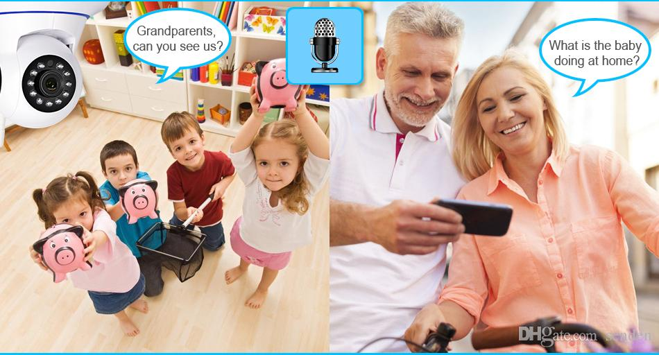 HD 720 P Kablolu Kablosuz Wifi Pan / Tilt Gece Görüş İki Yönlü Ses Akıllı Ev Güvenlik IP Kamera Onvif Bebek Monitörü