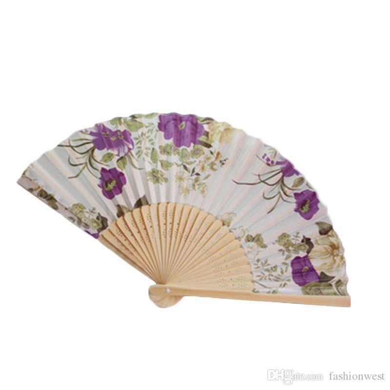 Ventilador personalizado de la boda de bambú de la vendimia plegable de mano ventilador de la flor baile chino fiesta de bolsillo regalos boda fan púrpura