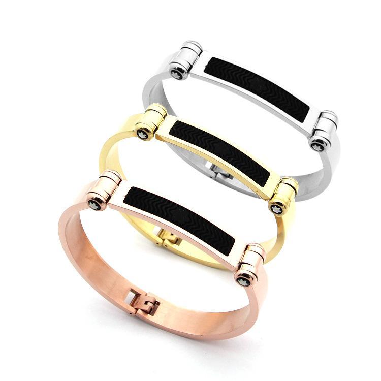 60bbdc45e2845 Titanium steel jewelry wholesale foreign trade titanium steel paste plum  leather men 's bracelet 18K gold foreign trade bracelet