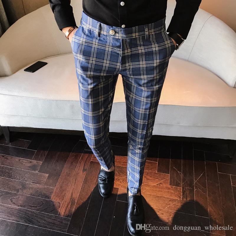 1c677ab3a0c6 Acheter Hommes Robe Pantalon Plaid Business Casual Slim Fit Pantalon Un Carreau  Homme Classique Vintage Vérifiez Costume Pantalon Pantalon De Mariage De ...