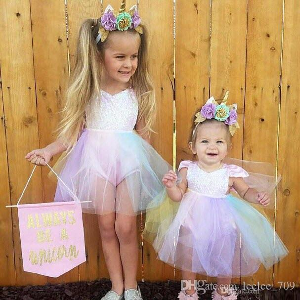 237f078f25 Sequined Baby Girl Princess Tutu Dress Rainbow Color Lace Boutique Romper  Toddler Clothing Party Wedding Flower Girl Dresses Kid Clothes Online with  ...