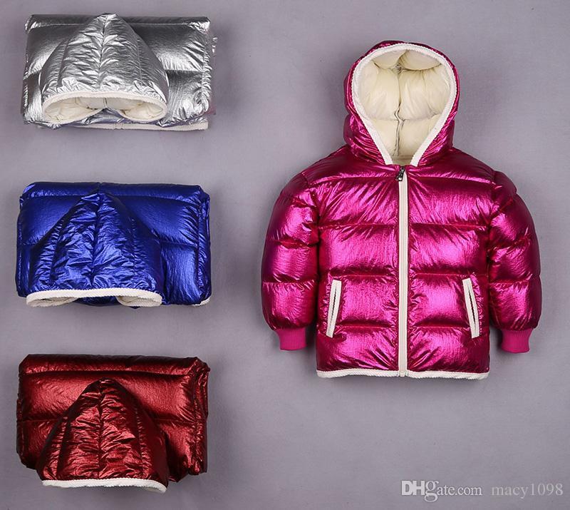 uk availability c2b52 1a12a Piumino pesante per bambini bambini con cappuccio cappotto lucido stile  ragazzi ragazze inverno con cappuccio outwear moda impermeabile