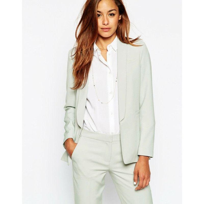 43fc0d7a1e6d Compre Nuevo Traje De Negocios Para Mujer, Color Verde Menta, Pantalones De  Vestir Adecuados Para La Boda Esmoquin Chal Traje De Solapa Sola Hebilla De  Las ...