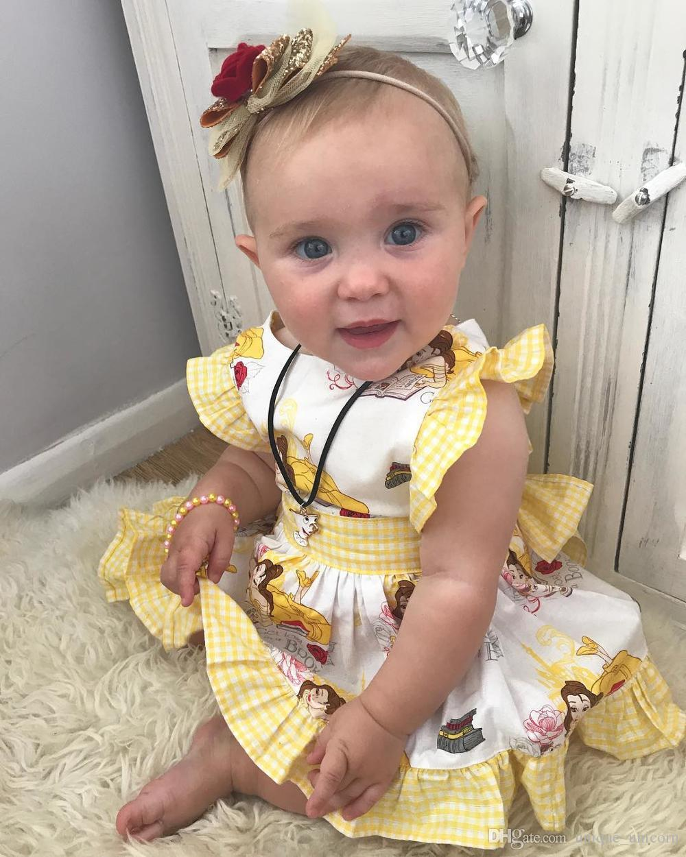 c64a72b2c3abd Baby Girls Toddler Cartoon Ruffles Dress Kids Bowknot Princess Party Tutu  Mini Dress